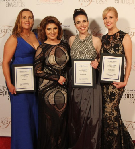 Honoree Julie Kang, founder and CEO of Be Tini Spirts, Karibian, Ghaffari and Honoree Deanna Hodges, Founder and President of Macada Design Group