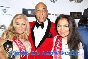 Eugene poses on the red carpet with friendship appreciation award recipient and Mrs. Mexico Elisabeth Manila and Mrs. Phillipines Amelia Johnson. Photo courtesy of Mark Sevier