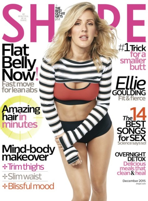 Ellie Goulding on the December cover of Shape Magazine. Photo courtesy Shape Magazine