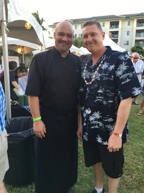 Hollywoodpresscorps Editor Dustin Brown with the chef from Kahala Nui