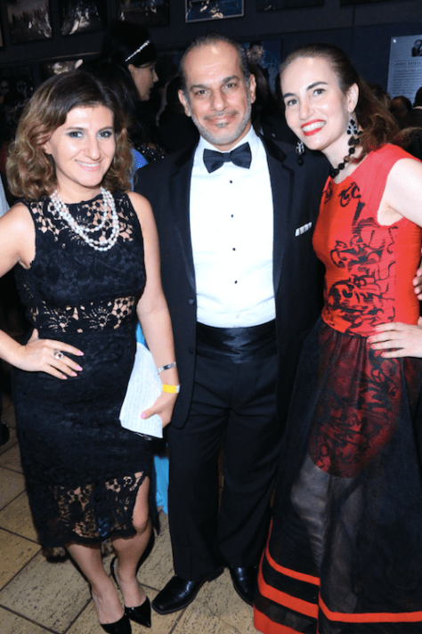 Presenter and founder of the World Networks Lousine Karibian with awardees Said Faraj and Vida Ghaffari