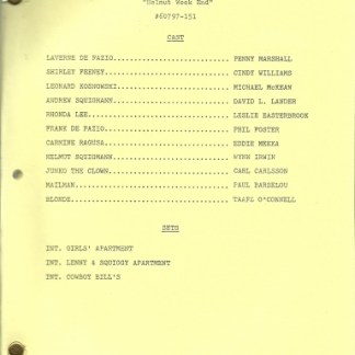 "LAVERNE & SHIRLEY: ""Helmut Weekend"" Script"