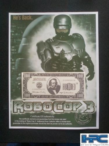 ROBOCOP 3: Authentic $100 Bill