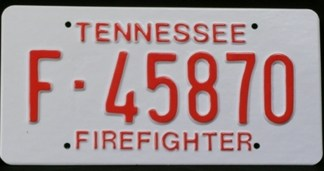 THE BLIND SIDE: TENN. FIREFIIGHTER LICENSE PLATES