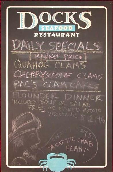 EULOGY: Docks Seafood Restaurant Chalkboard Menu