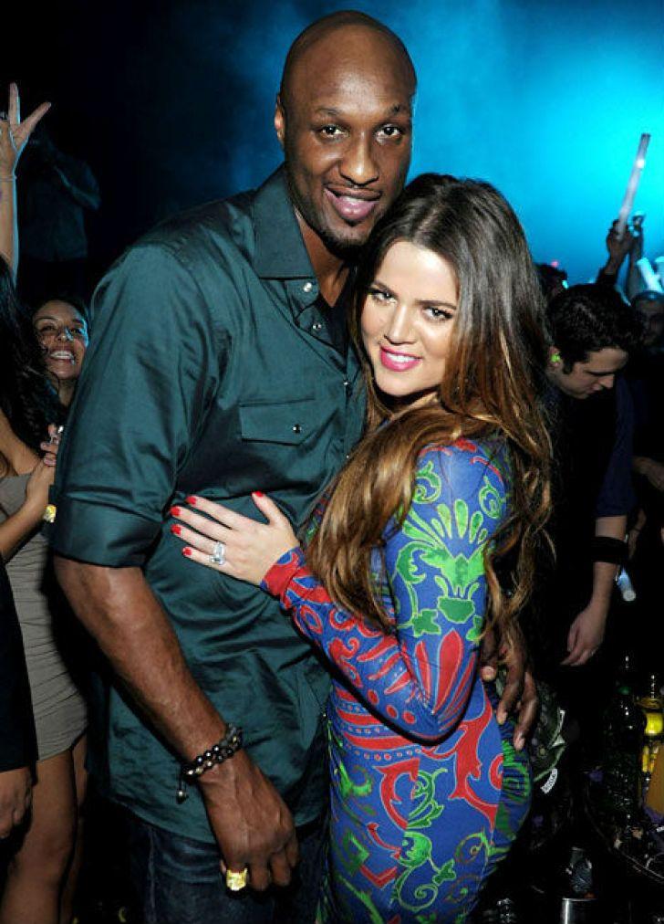 Lamar Odom and Khloe Kardashian at Marquee Nightclub on October 22, 2011 in Las Vegas.