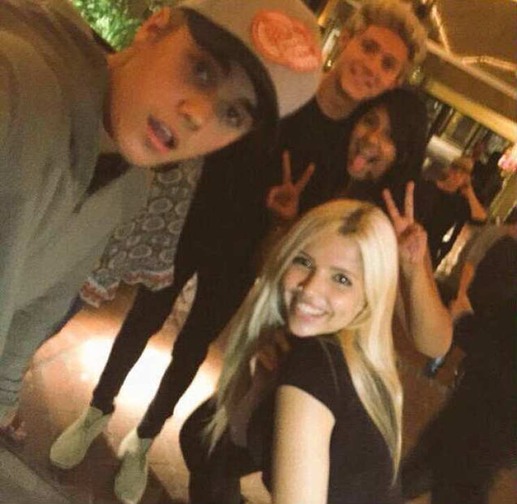 Happy times: A picture has emerged of Niall and Bieber hanging out on the town together