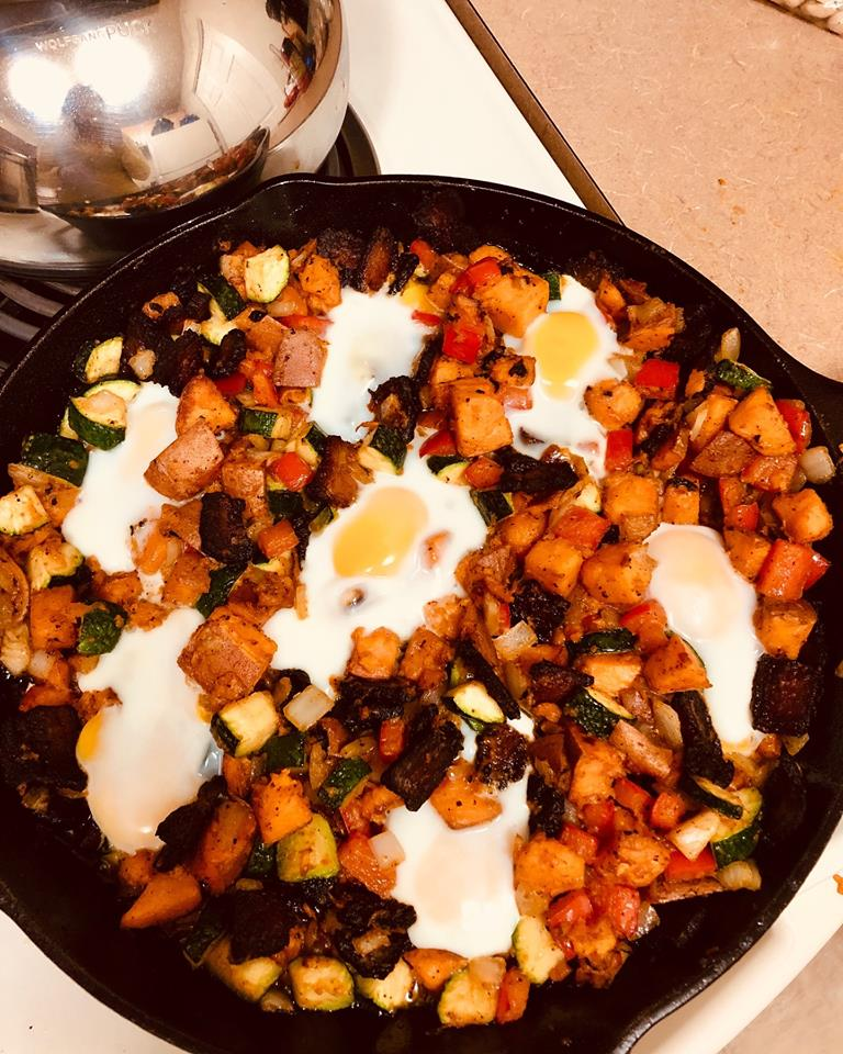 Hearty Sweet Potato, Bacon and Egg Skillet