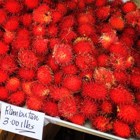 A table full of rambutans