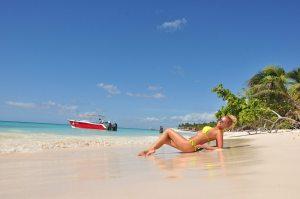 Sun bathing on the beach
