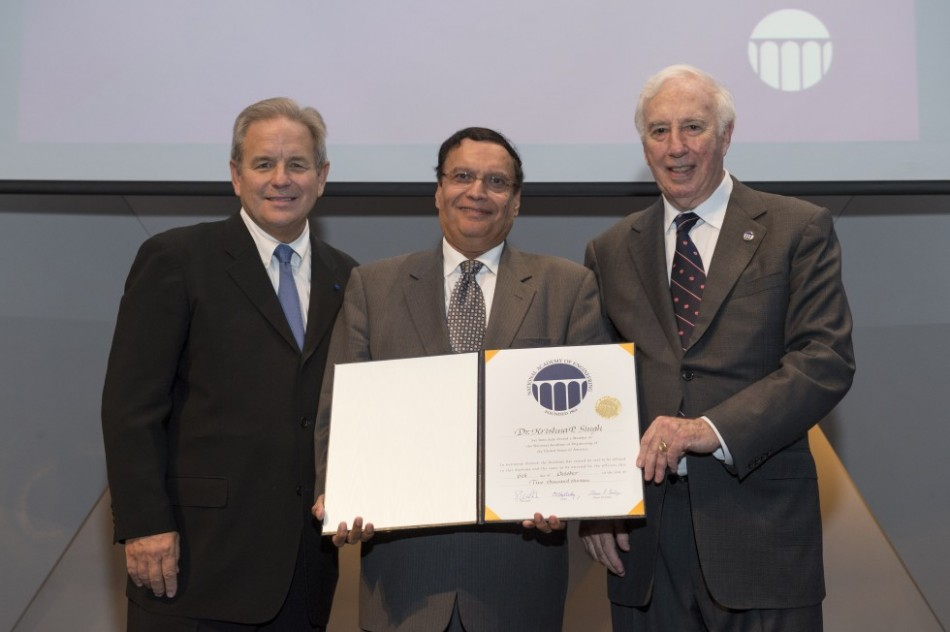 Holtec's Dr. Kris Singh is Inducted into the National Academy of Engineering. Pictured from left to right: Mr. Charles O. Holliday, Jr., Chair, National Academy of Engineering; Dr. Kris Singh, President & CEO, Holtec International; Dr. C.D. Mote, Jr., President, National Academy of Engineering