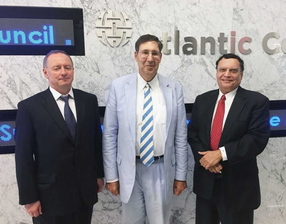 From Left to Right: Mr. Yuriy Nedashkovsky (President of the National Nuclear Energy Generating Company of Ukraine, Energoatom); Mr. John Herbst (Former U.S. Ambassador to Ukraine and Director of the Dinu Patriciu Eurasia Center of the Atlantic Council); Dr. Kris Singh (President and CEO of Holtec)