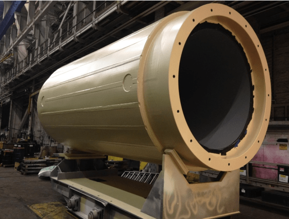 HI-STAR 190 transport cask (lid removed) being prepped for shipment to Ukraine from Holtec Manufacturing Division in Turtle Creek, PA