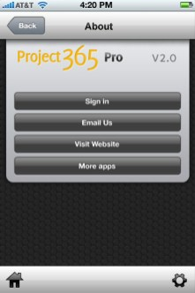 Project 365 Pro UI - About