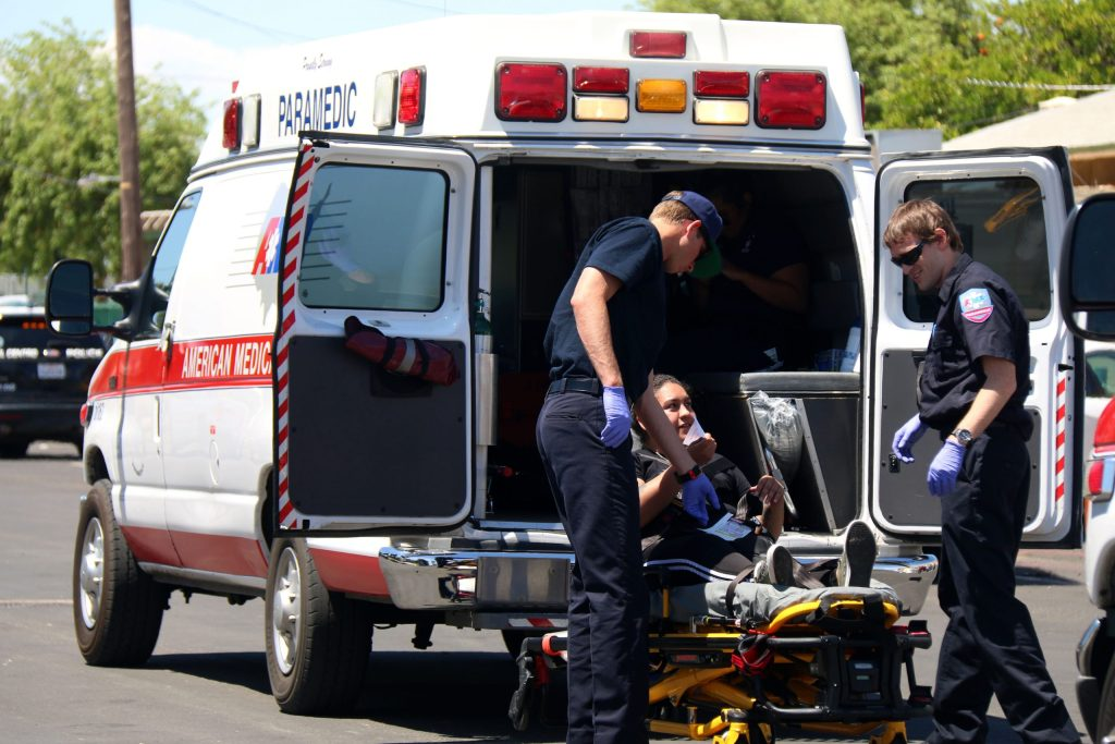 A mock victim is loaded into an ambulance during a mass casualty drill held on April 22 at Holtville High School.