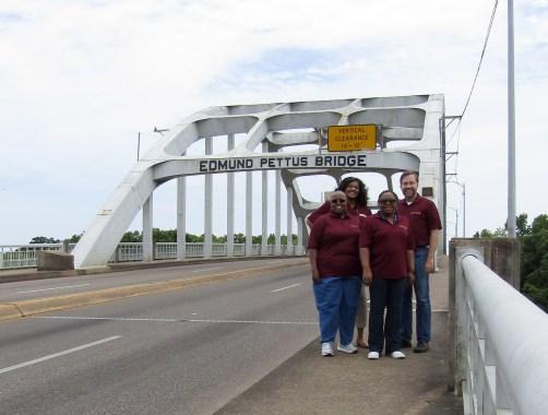 The Hinds NEH team on the historic Edmund Pettus Bridge.