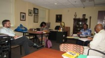 In the afternoon session, the team does some brainstorming about directions for the Humanities class.