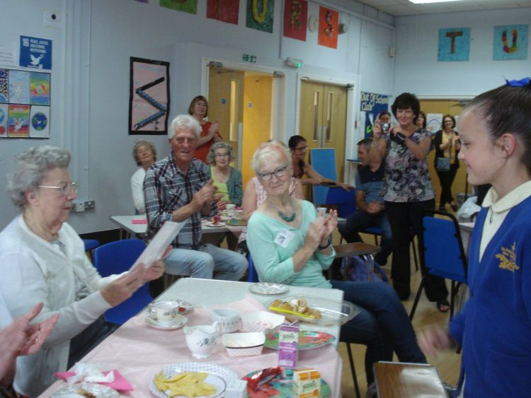SVP Intergenerational Art Project: The children at SSPP and the residents of Cressingham House at the final celebration.