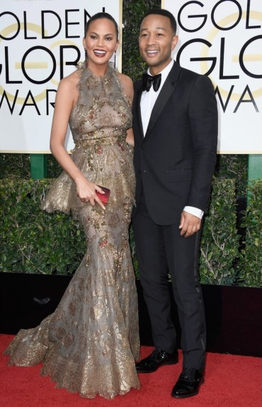 Chrissy Teigen and John Legend Golden Globes