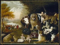 A painting of a number of animals, including predators and prey, standing peaceably together.
