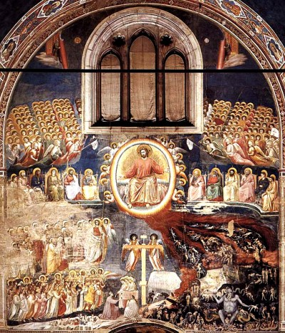A complex painting on the back wall of a chapel with a Christ figure at center surrounded by human figures. Redeemed humans at lower left with a hell scene at lower right.