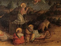 A 15th century painting of Christ praying in the garden as his disciples sleep.