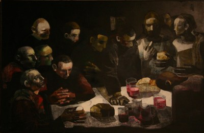 A modern rendition of the Last Supper, with faces around a table.