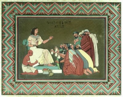 Depicts Joseph in Egyptian dress speaking to his brothers in Canaanite dress.