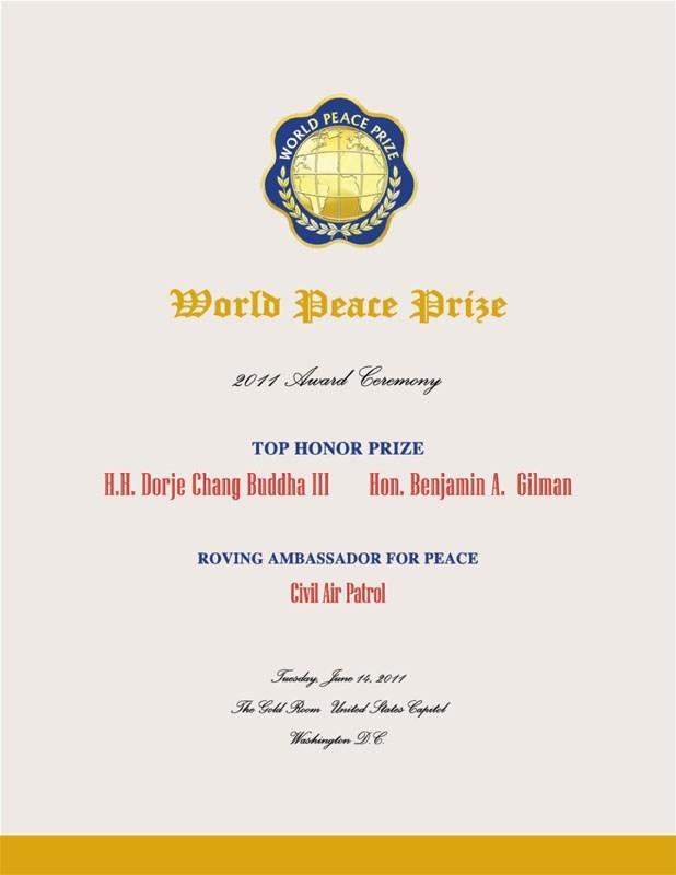 世界和平獎於2011年頒發最高榮譽獎給南無第三世多杰羌佛!