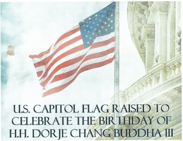 美國國會於2018年5月升旗向南無第三世多杰羌佛致敬!