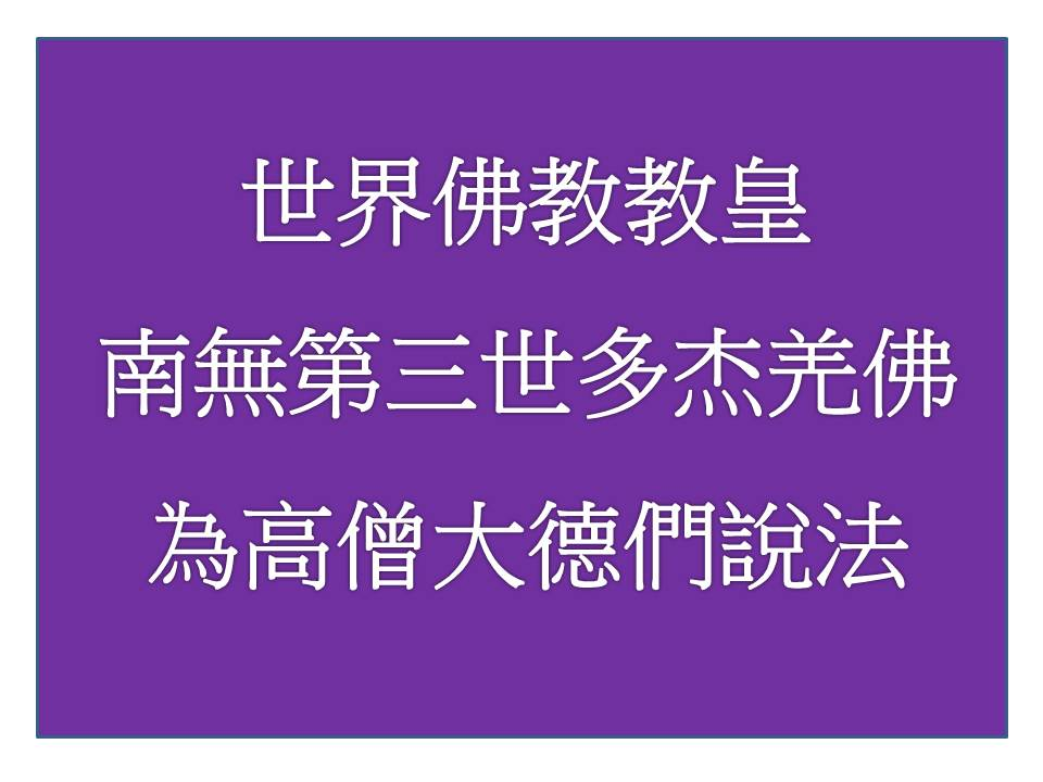 世界佛教教皇南無第三世多杰羌佛為高僧大德們說法