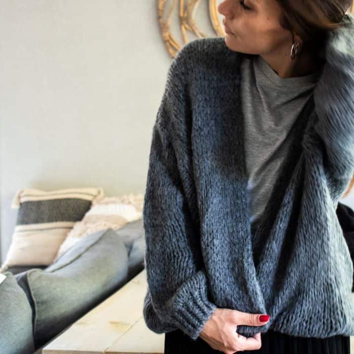 gilet long en laine gris