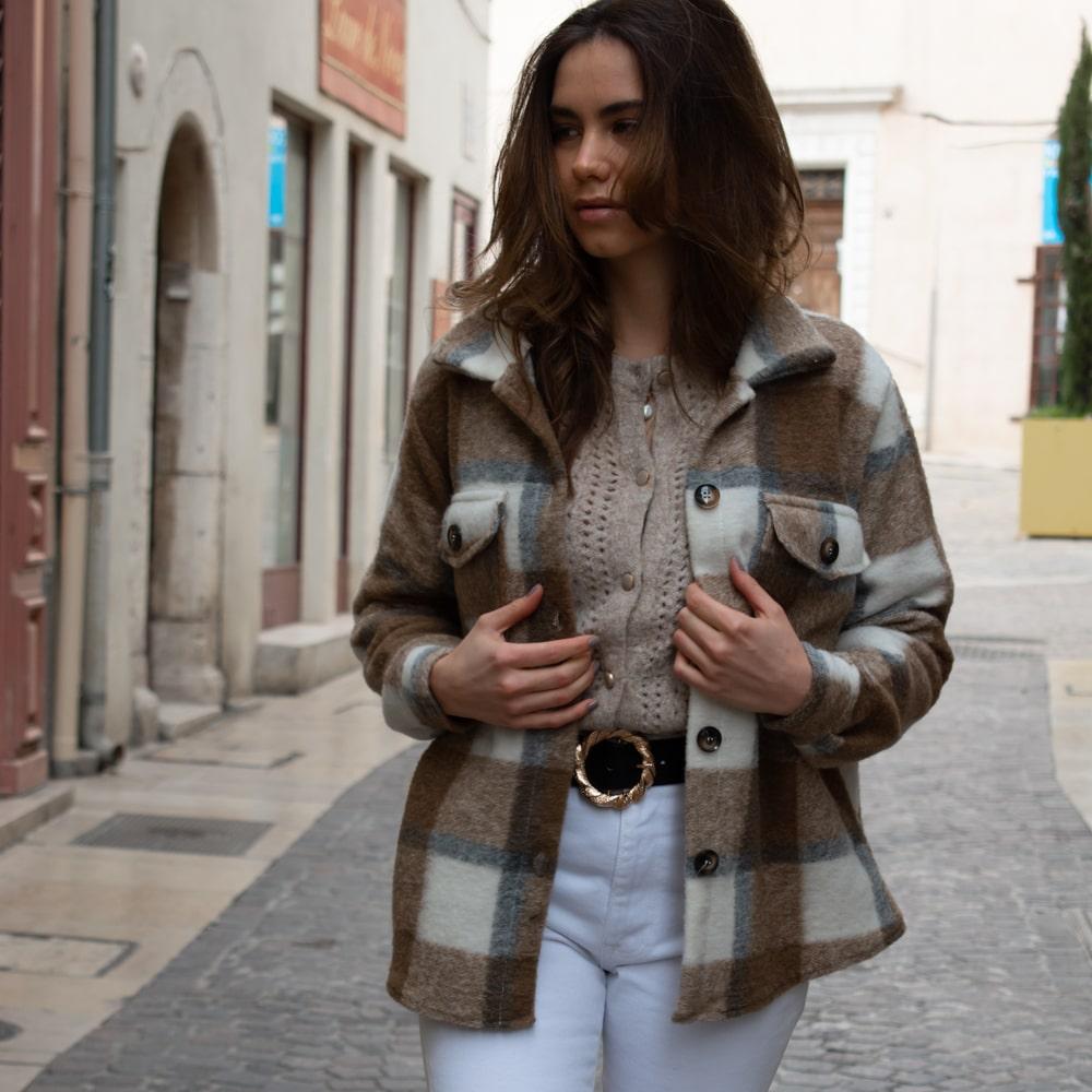 surchemise en laine à carreaux marron