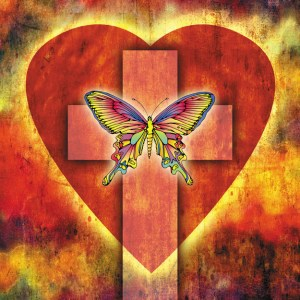 jesus' justice, cross and butterfly