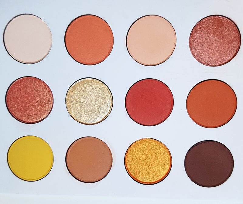 Ensemble des couleurs de fards de la palette Yes please de colour pop