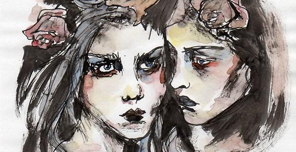 visages, fleurs et aquarelle