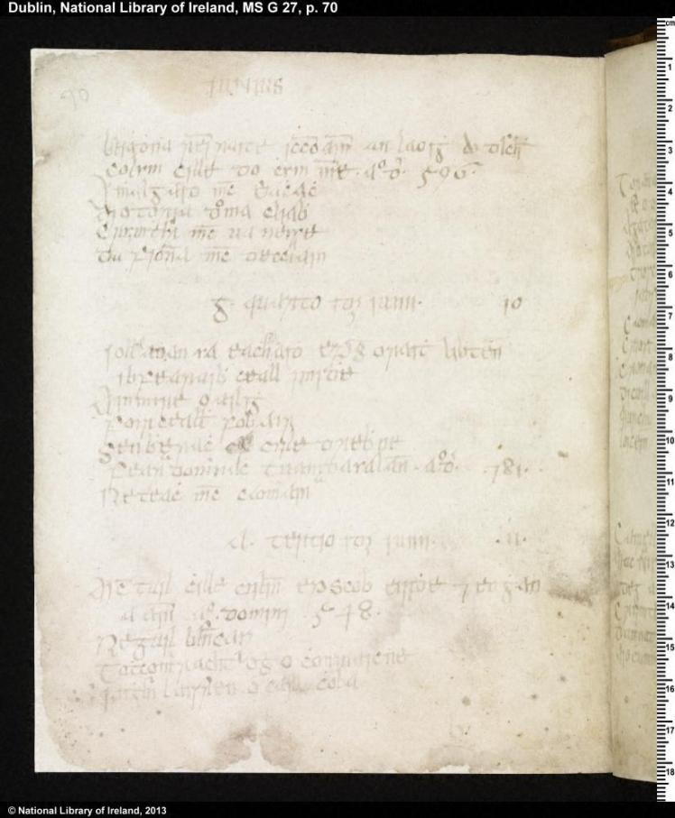 NLI MS G27 p.70 Martyrology of Donegal (copy of the shorter version) Courtesy of the National Library of Ireland