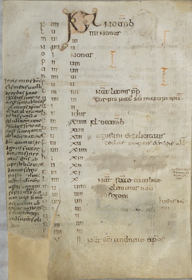 MS Paris, BnF, lat. 10837, Willibrord's Calendar, f. 39v, containing Willibrord's autobiographical note. Source: BnF