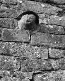 Well worn head on church walls