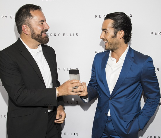 ab6f6d233d Perry Ellis Creative Director Michael Maccari and Aaron Diaz at the launch  of the new Perry