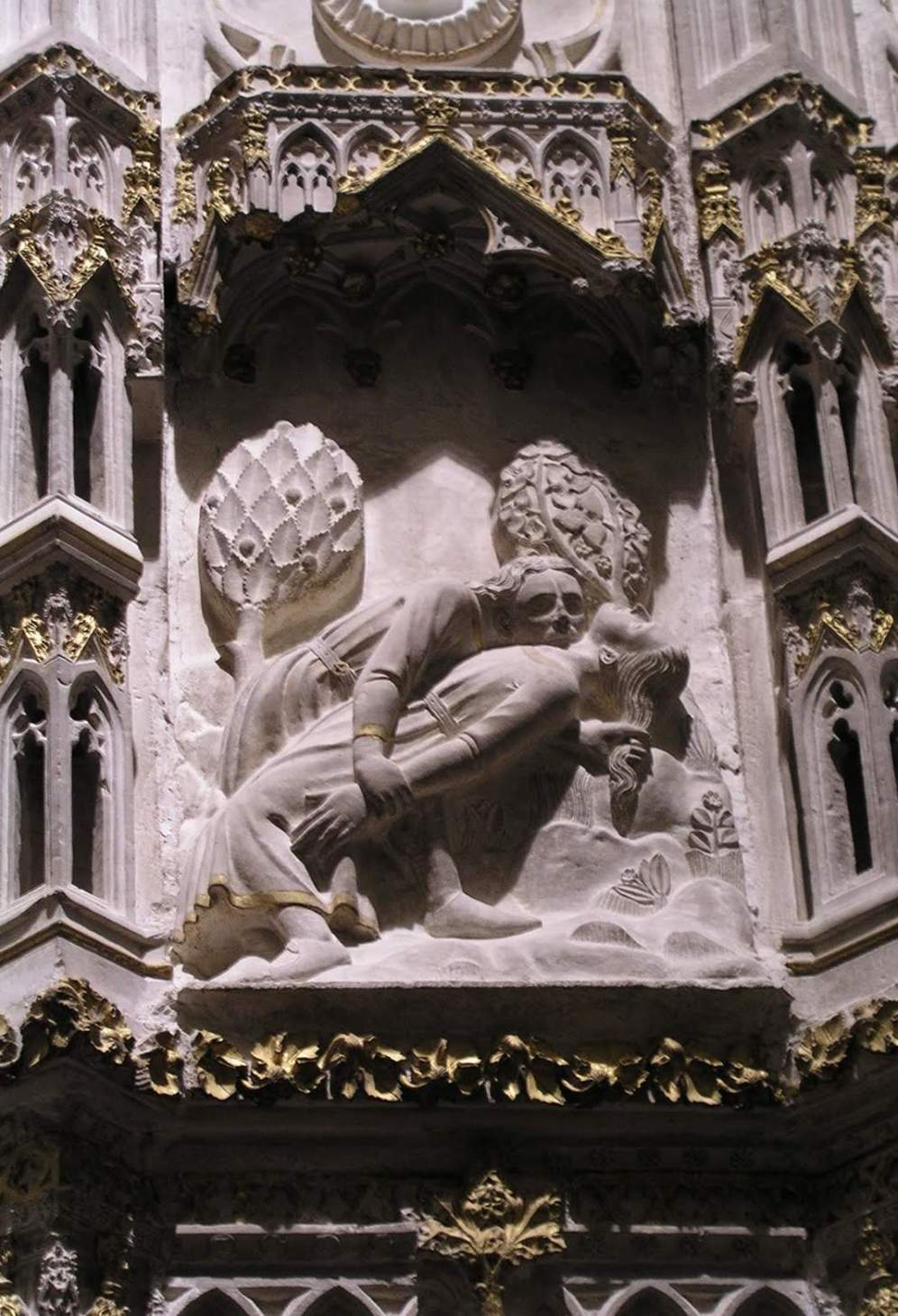 Figura 01. Muerte de Abel por Caín. Cerca exterior del coro de la Catedral de Toledo. Segunda mitad del siglo XIV