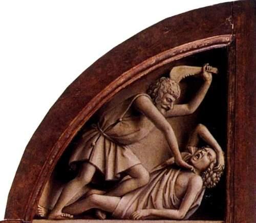 Figura 03. La muerte de Abel, grisalla de Jan Van Eyck. Políptico de la iglesia de Saint-Bavon (Gante). 1432