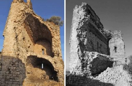 b) Antes y después del último derrumbe