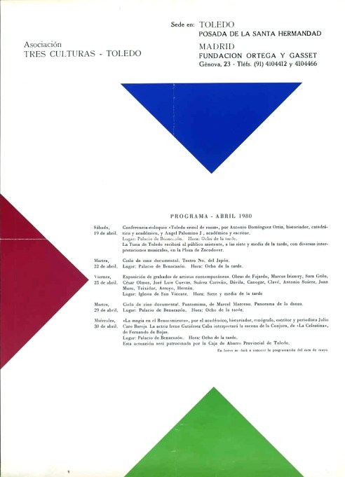 Cartel de 1980 de la Asociación Tres Culturas. Archivo Municipal de Toledo