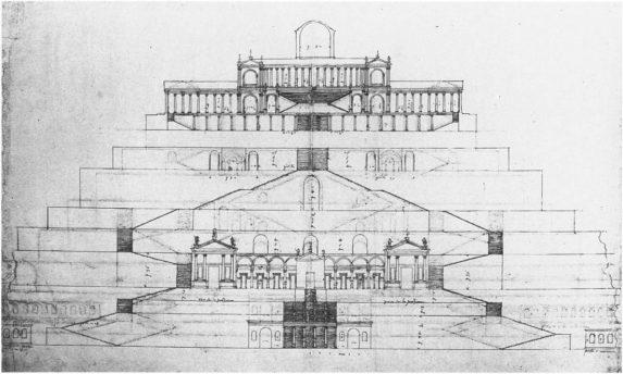 Palladio. Dibujo del templo de la Fortuna en Palestrina