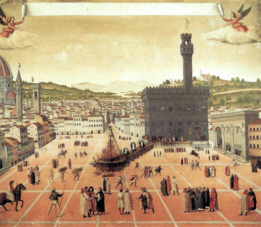 Anónimo s.XVII, Girolamo Savonarola y la hoguera de las vanidades