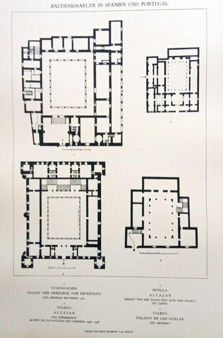 Plantas comparadas: palacio del Infantado de Guadalajara, el alcázar de Toledo, el alcázar de Sevilla y el palacio de los Ayalas de Toledo.