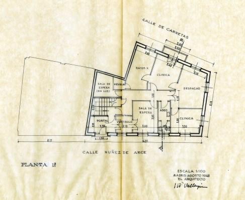 Planta 1º. Proyecto inicial agosto 1948