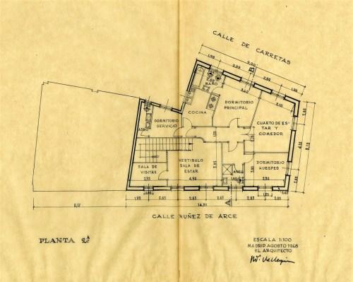 Planta 2º. Proyecto inicial agosto 1948