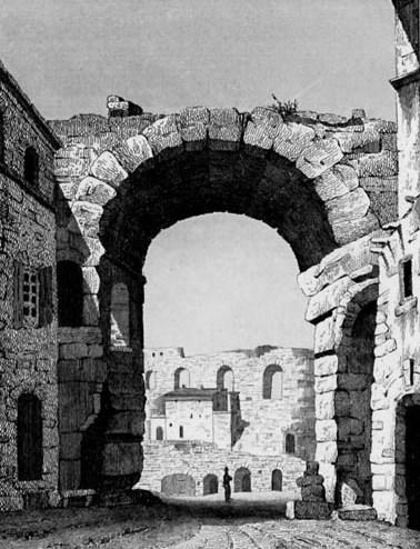 Grabado del anfiteatro de Arlés, mediados s XIX. Rauch, Charles.